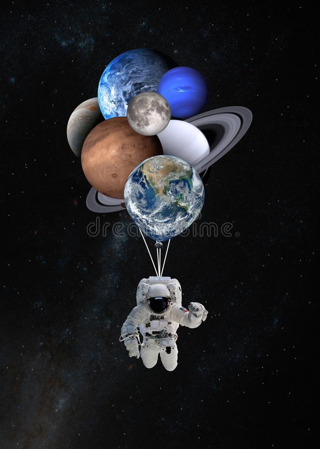 Astronaut spaceman with planets shaped balloons in solar system. Elements of this image furnished by NASA stock photos