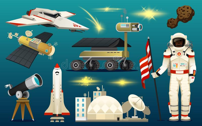 Astronaut spaceman. planets in solar system. astronomical galaxy. cosmonaut explore adventure. space shuttle, telescope royalty free illustration