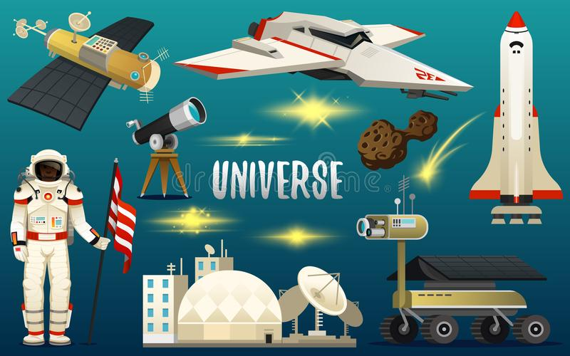 Astronaut spaceman. planets in solar system. astronomical galaxy. cosmonaut explore adventure. space shuttle, telescope. Robot and mars, lunar rover vector illustration