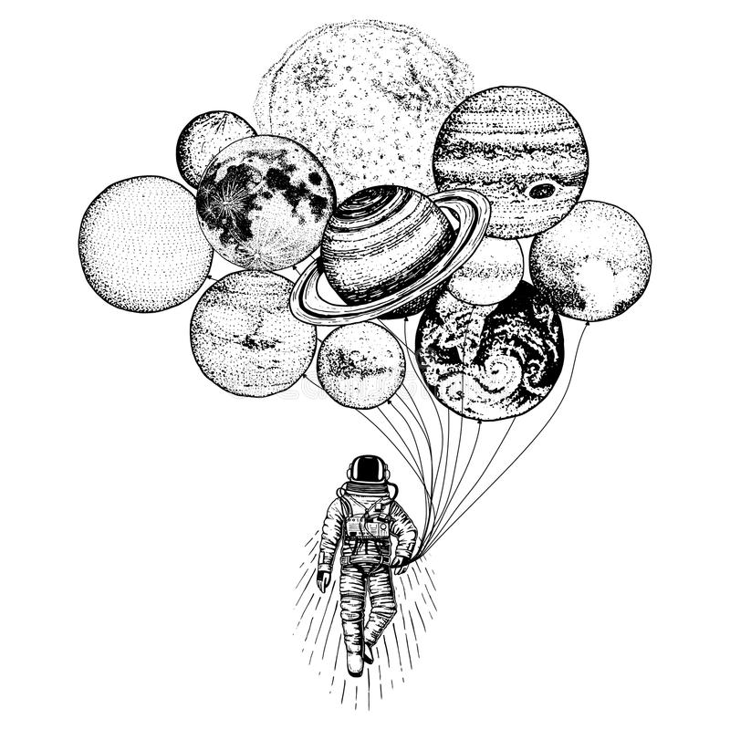 Astronaut spaceman. planets in solar system. astronomical galaxy space. cosmonaut explore adventure. engraved hand drawn stock illustration