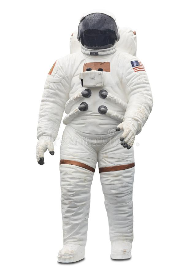 Astronaut spaceman suit with helmet isolated on white royalty free stock images