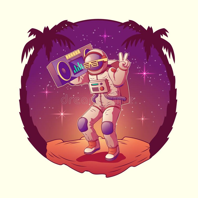 Astronaut or spacemen dancing on moon disco party. Dancing astronaut or spacemen character in space suit and sunglasses show gesture victory holding retro royalty free illustration