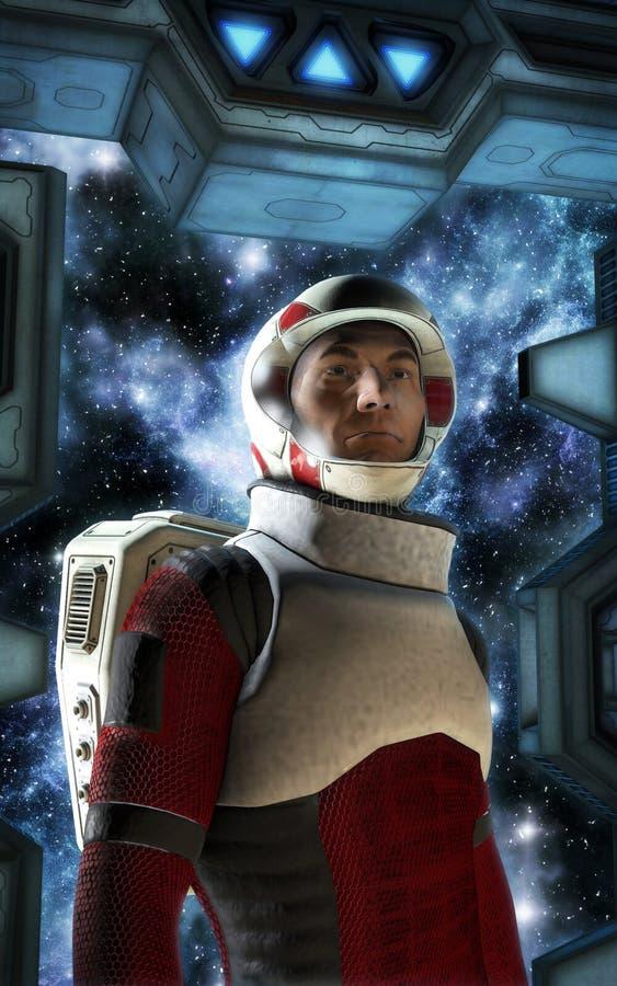 Astronaut spaceship airlock. 3D render science fiction illustration stock illustration