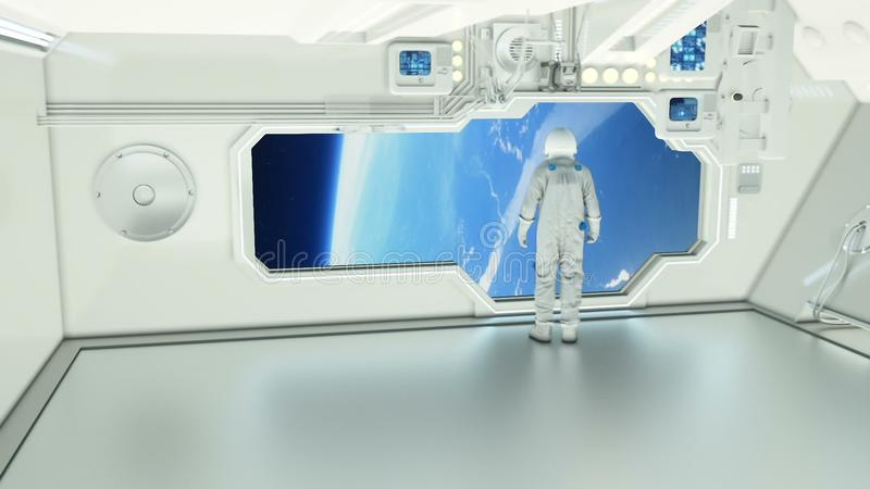 An astronaut on a spaceship watching the earth stock illustration