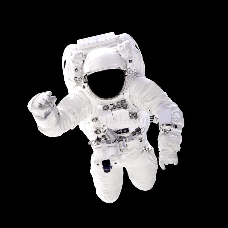 Astronaut in spacesuit close up isolated on black background. stock photos