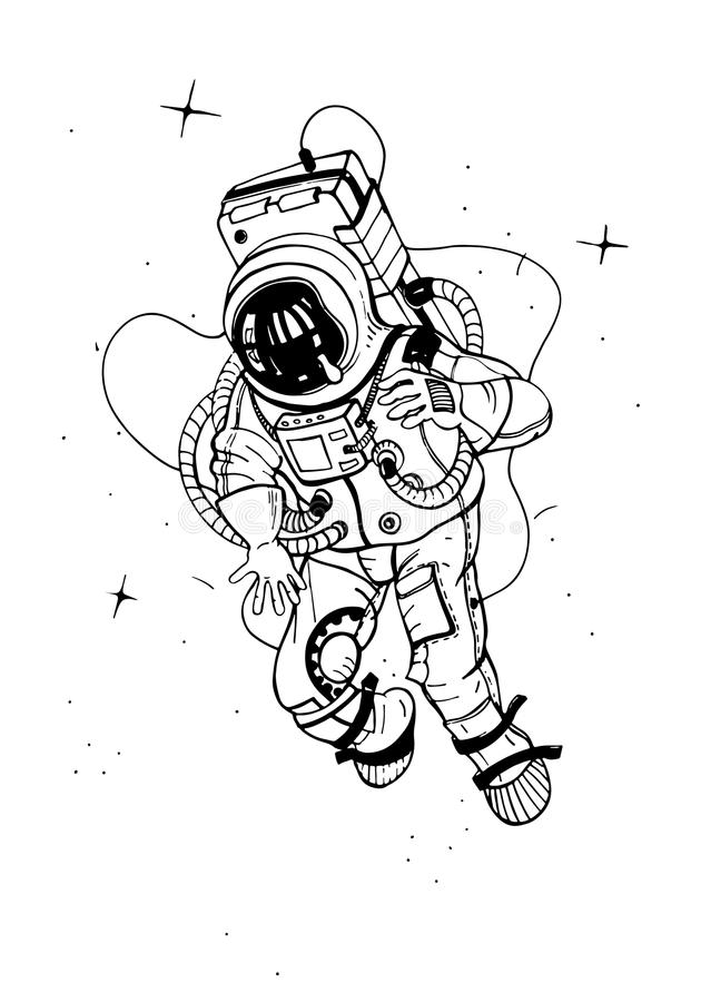 Astronaut in spacesuit. Cosmonaut into space on the background of stars. Vector illustration. stock illustration
