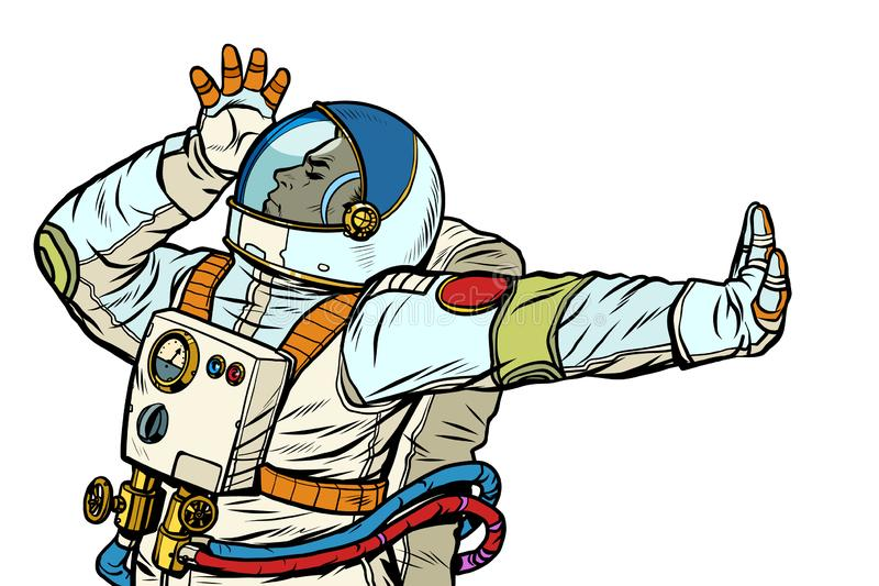 Astronaut in a spacesuit. Gesture of denial, shame, no. Pop art retro vector Illustrator vintage kitsch drawing stock illustration