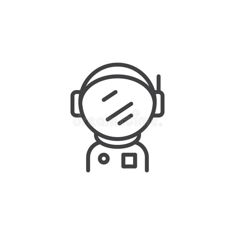 Astronaut Spacesuit met het pictogram van het Helmoverzicht vector illustratie