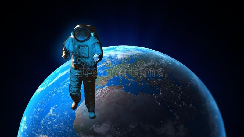 An astronaut spacewalk stock photo
