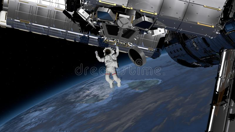 Astronaut Spacewalk, Astronaut in the open space. Elements of this image furnished by NASA. 3D rendering.  royalty free illustration