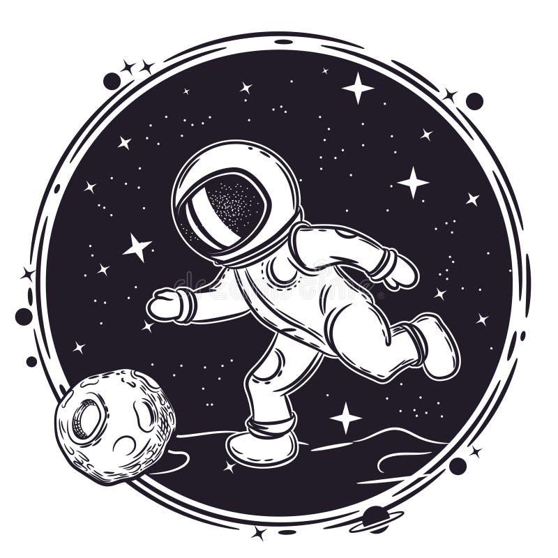 Astronaut spielt Fußball Vektorillustration auf dem Thema von Astronomie Weibliches Portrait gegen abstrakte Hintergr?nde stock abbildung