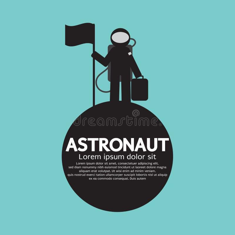 Astronaut Standing With Flag auf dem Planeten lizenzfreie abbildung