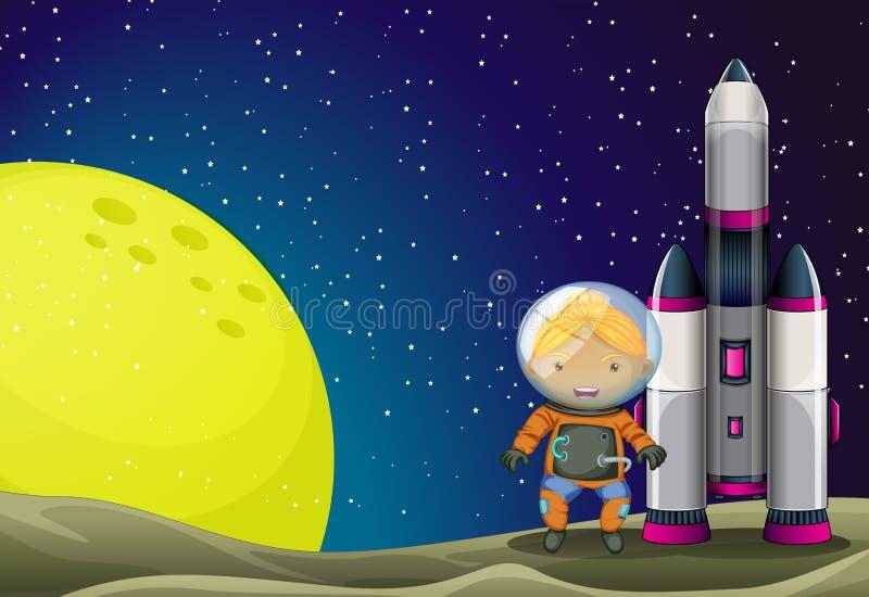 An astronaut standing beside the rocket stock illustration