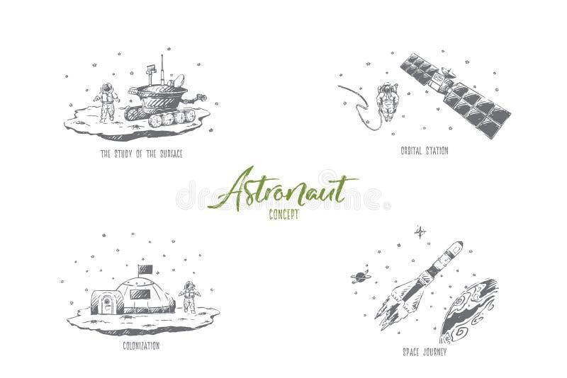 Astronaut - Studie der Oberfläche, Orbitalstation, Raumreise, Besiedlungsvektor-Konzeptsatz stock abbildung