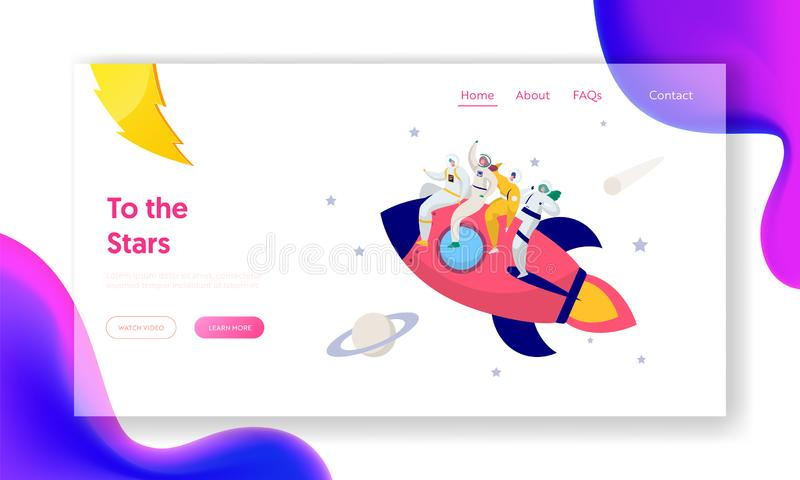 Astronaut Team Travel Rocket Intergalactic Space Landing Page. People on Spacecraft Fly in Solar Star System royalty free illustration