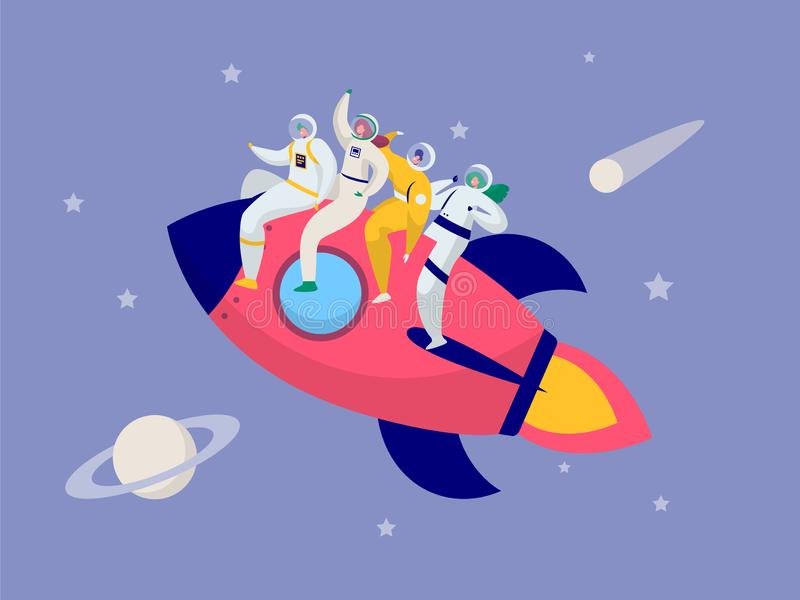 Astronaut Team Travel Rocket Intergalactic Space. People on Spacecraft Fly in Solar System to Saturn Comet Star. Fantastic Explorer Transportation to Moon Flat royalty free illustration