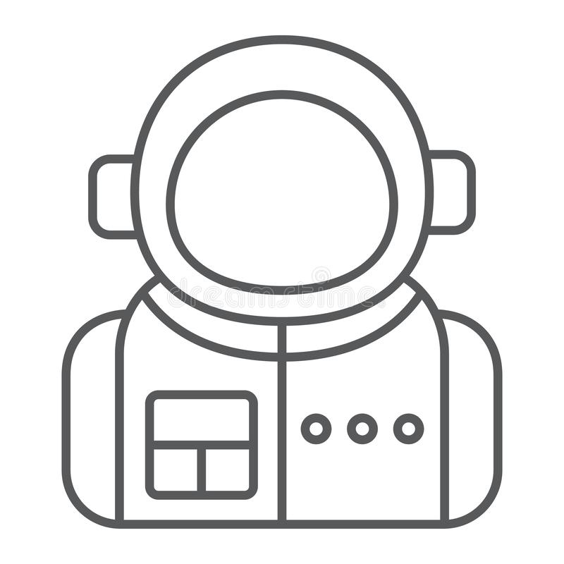 Astronaut thin line icon, spaceman and astronomy, cosmonaut sign, vector graphics, a linear pattern royalty free illustration