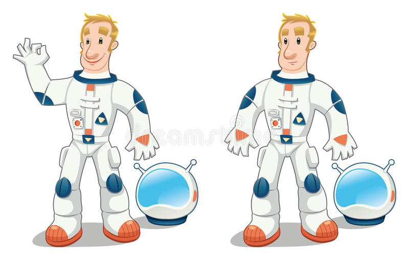 Astronaut In Two Poses. Royalty Free Stock Photos