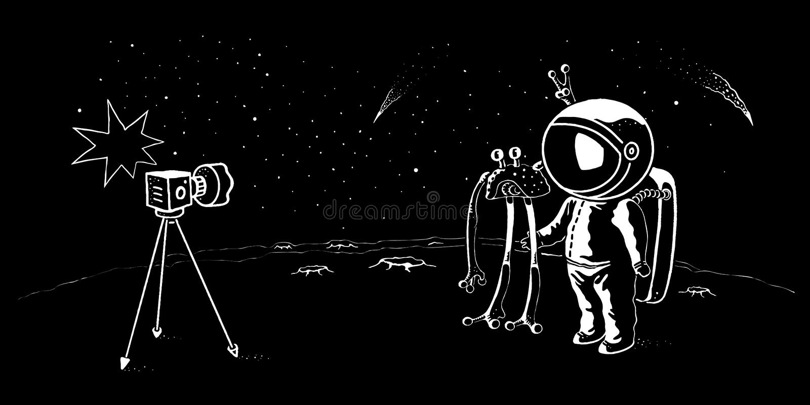 Astronaut and ufo doodle style vector illustration. Pioneer spaceman meets cosmic creature. Astronaut and ufo doodle style vector illustration. Pioneer spaceman
