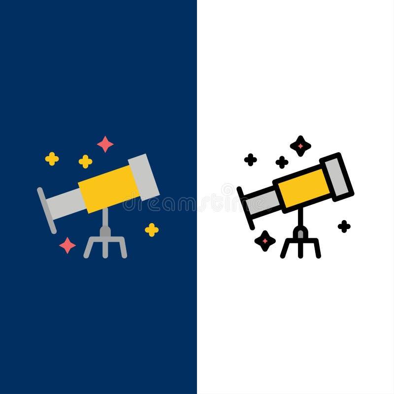 Astronaut utrymme, teleskopsymboler Lägenheten och linjen fylld symbol ställde in blå bakgrund för vektorn royaltyfri illustrationer