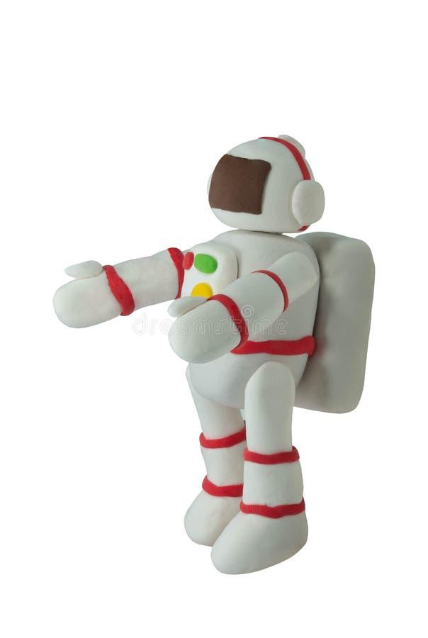 Astronaut van het plasticine de Witte Kostuum op wit in omhelzingsactie stock foto's