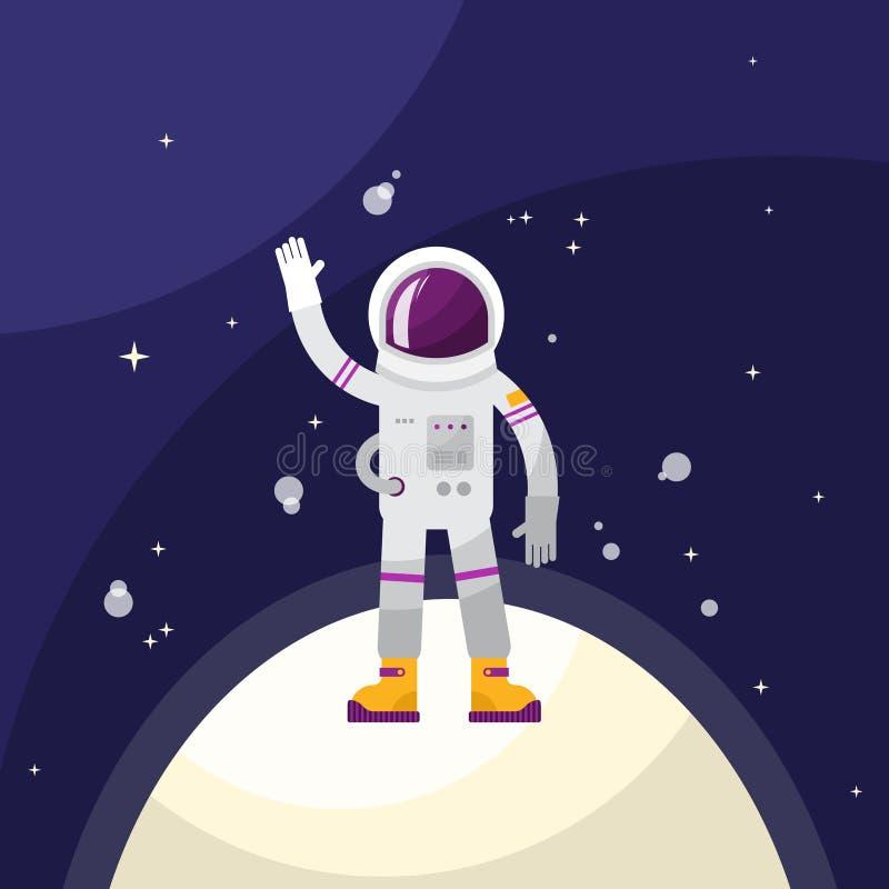 Astronaut Vector Illustration Kosmonaut och folk i vinkande stå för yttre rymd på planeten eller månen Flyg och utforskning av ry stock illustrationer