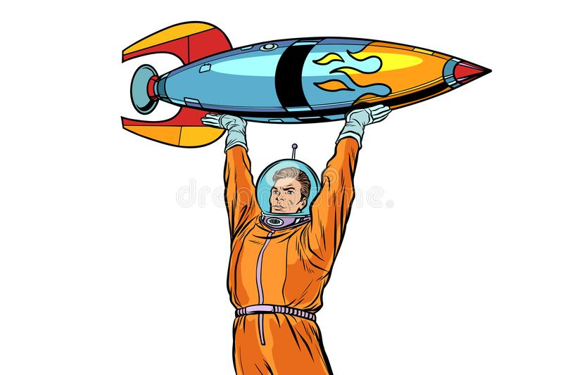 Astronaut and vintage rocket isolated on white background vector illustration