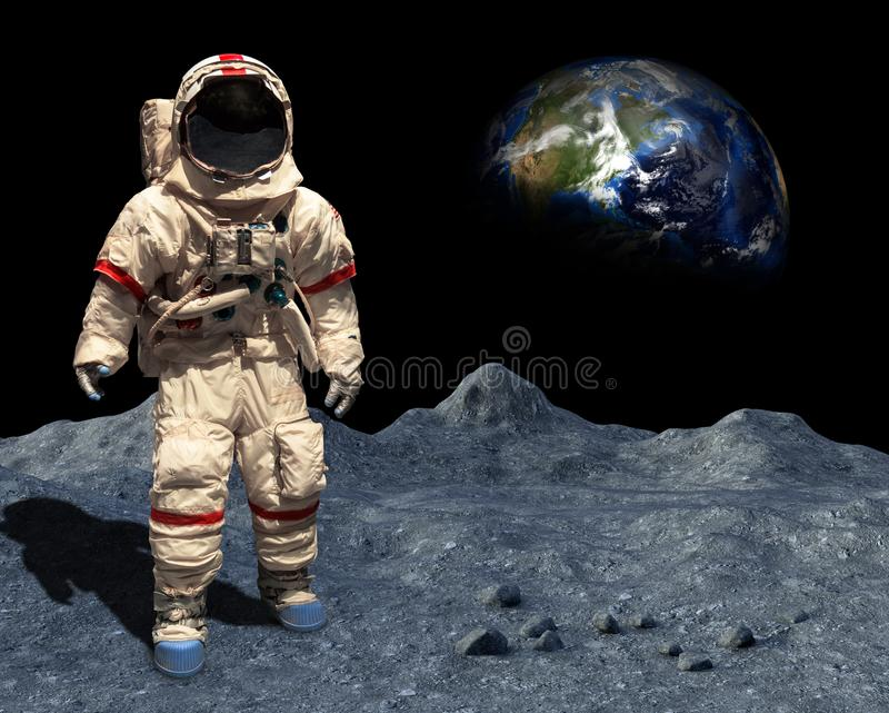 Moon Landing, Astronaut Walk, Space, Lunar Surface. An astronaut walk or walks on the lunar surface during a moon landing. Outer space and planet earth is in the