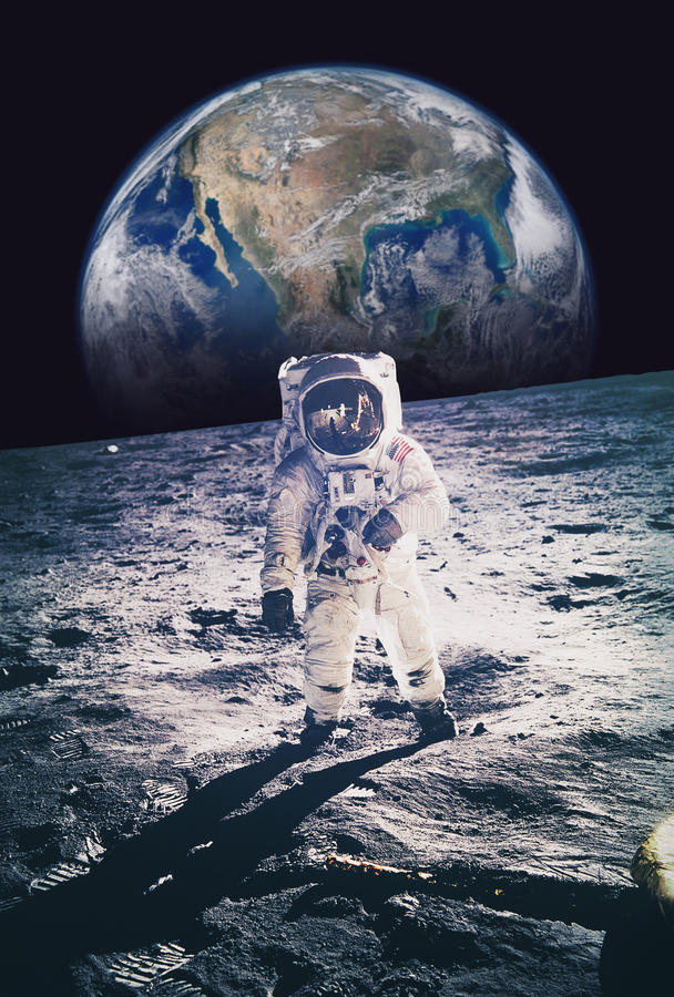 Astronaut walking on moon with earth in background. Elements of royalty free stock photo