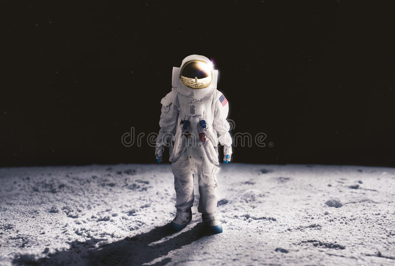 Astronaut walking on the moon. Astronaut standing on the moon