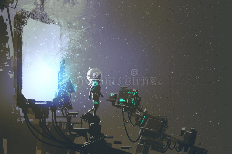 The astronaut walking out through futuristic portal. Sci-fi concept, illustration painting vector illustration
