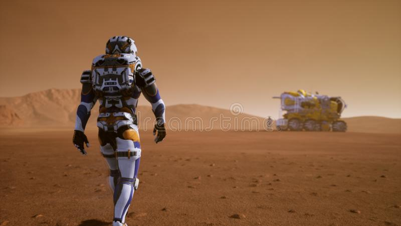 Astronaut walks on the surface of Mars to the Rover, through a dust storm. Panoramic landscape on the surface of Mars vector illustration