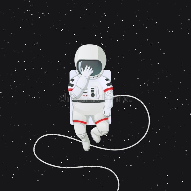 Astronaut wat betreft zijn helm met zijn hand die droefheid of schande tonen Facepalm stock illustratie