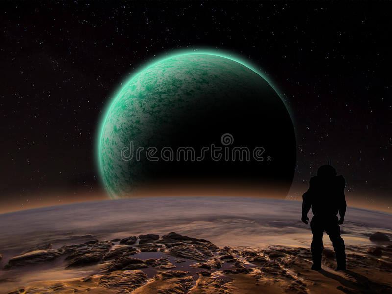 An astronaut watches an alien planet rise. Over a rocky moon. Sci-fi Fantasy artwork royalty free illustration