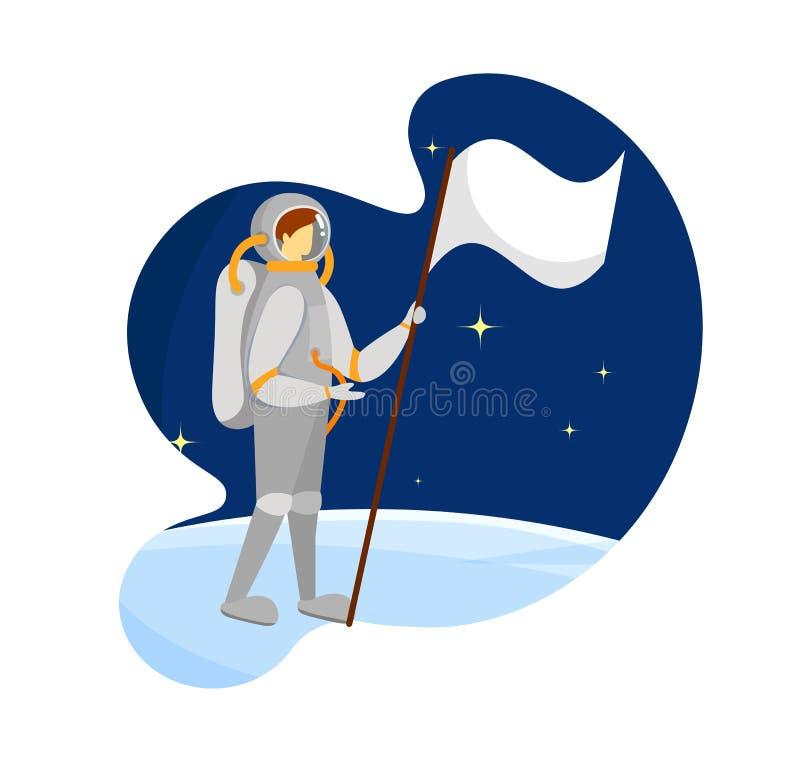 Astronaut Wearing Spacesuit in der Kosmos-Expedition lizenzfreie abbildung