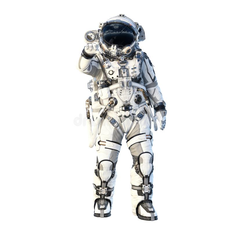 Astronaut on white. Mixed media. Spaceman in suit on white background. Mixed media stock illustration