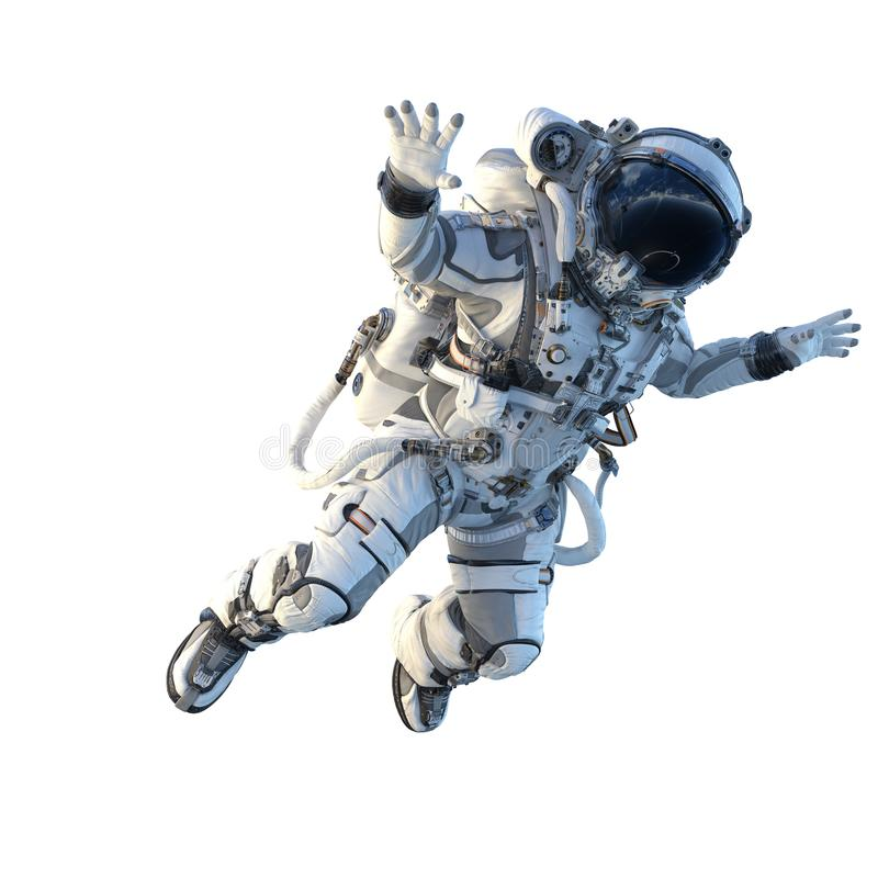 Astronaut on white. Mixed media. Spaceman in suit on white background. Mixed media royalty free illustration