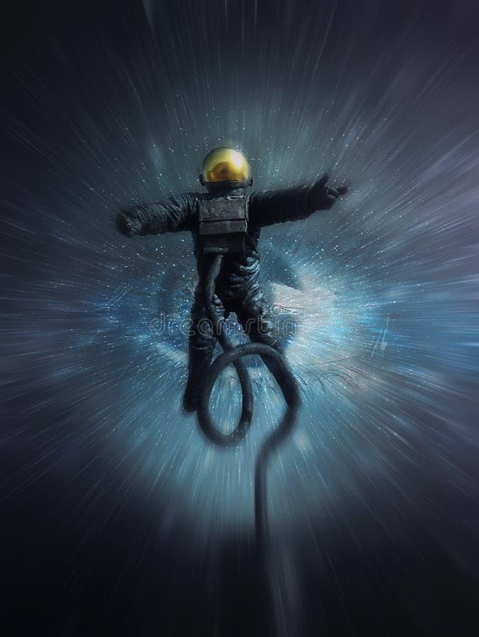 Astronauta absorvido pelo olho cósmico Colapso em nada como o cosmonauta se está movendo na velocidade clara atraída pela gravida ilustração do vetor