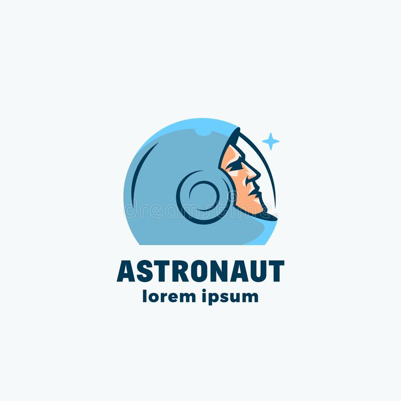 Astronauta Abstract Vetora Sign, emblema, ícone ou Logo Template Uma cara das pessoas em uma vista da silhueta do capacete do ter ilustração stock