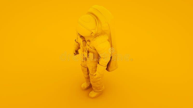 Astronauta astronauta astronauta amarillo Cosmonaut 3d ilustración ilustración del vector