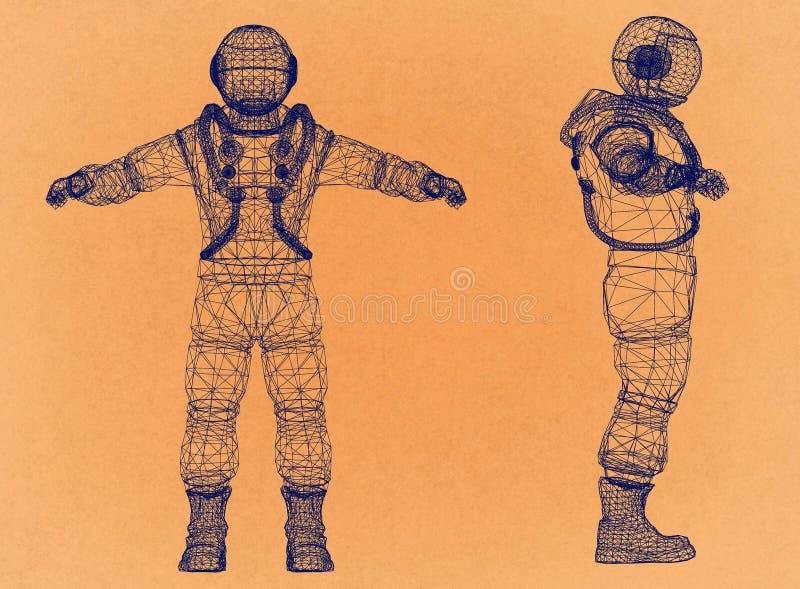 Astronauta - arquiteto retro Blueprint ilustração do vetor