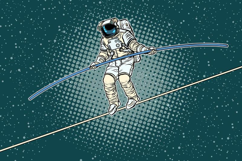 Astronauta balansowanie na linie piechur ryzyko badacz nauka royalty ilustracja