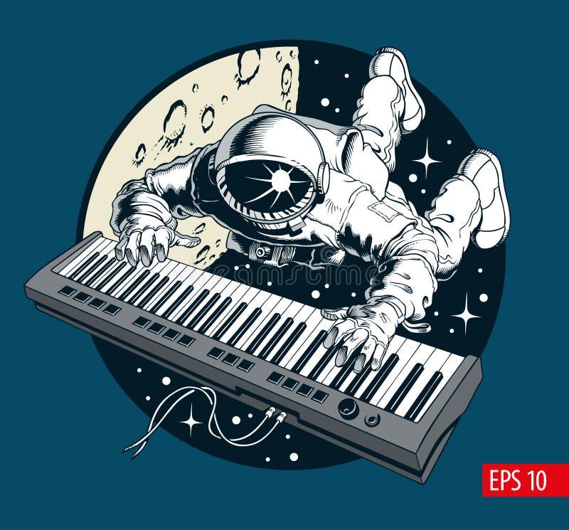 Astronauta bawić się fortepianowego syntetyka w przestrzeni, astronautyczny turysta royalty ilustracja