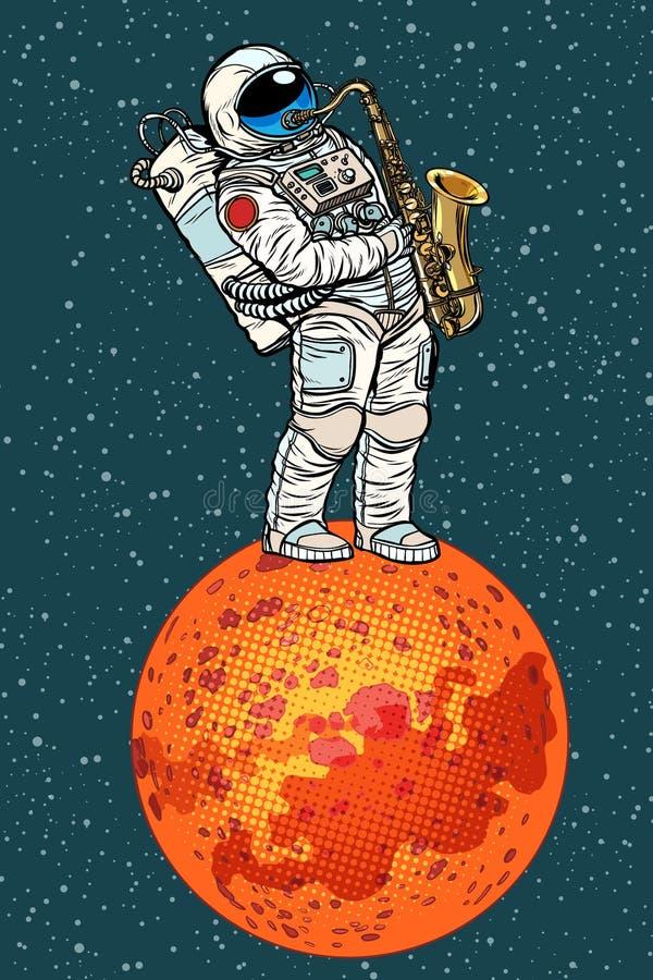 Astronauta bawić się saksofon na Mars royalty ilustracja