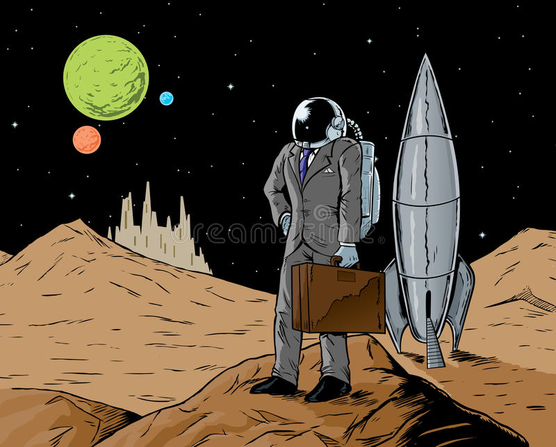 astronauta biznes ilustracja wektor