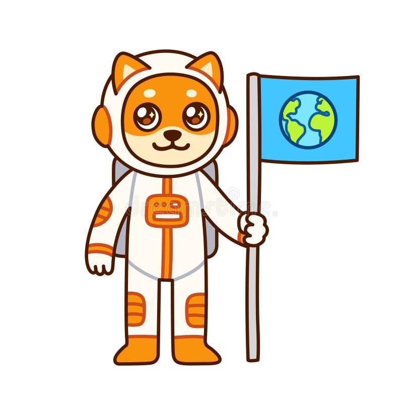 Astronauta bonito do cão dos desenhos animados ilustração stock