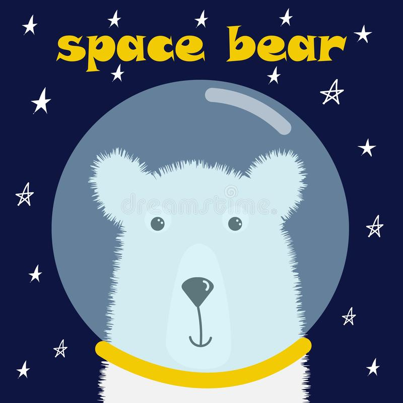 Astronauta bonito do urso polar para o projeto dos t-shirt, cartões, cumprimentos, cartão, ilustração do vetor no estilo dos dese ilustração stock