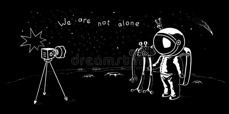 Astronauta bonito e caráteres do vetor do UFO que levantam para o tiro do selfie Aventura do astronauta na galáxia