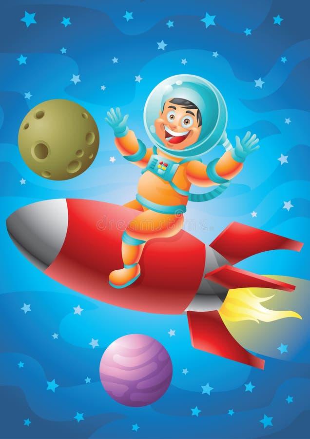 Astronauta chłopiec czerwieni rakiety jeździecki statek, kosmosu tło ilustracja wektor