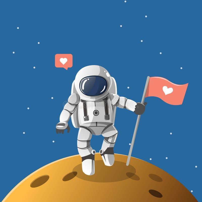 Astronauta chłopiec na osamotnionej planecie ilustracja wektor